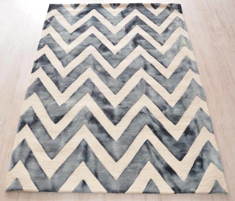 Woll teppich zickzack elfenbein blau grau ab 140 x 200 cm von linea naturale ebay - Linea natura teppich ...