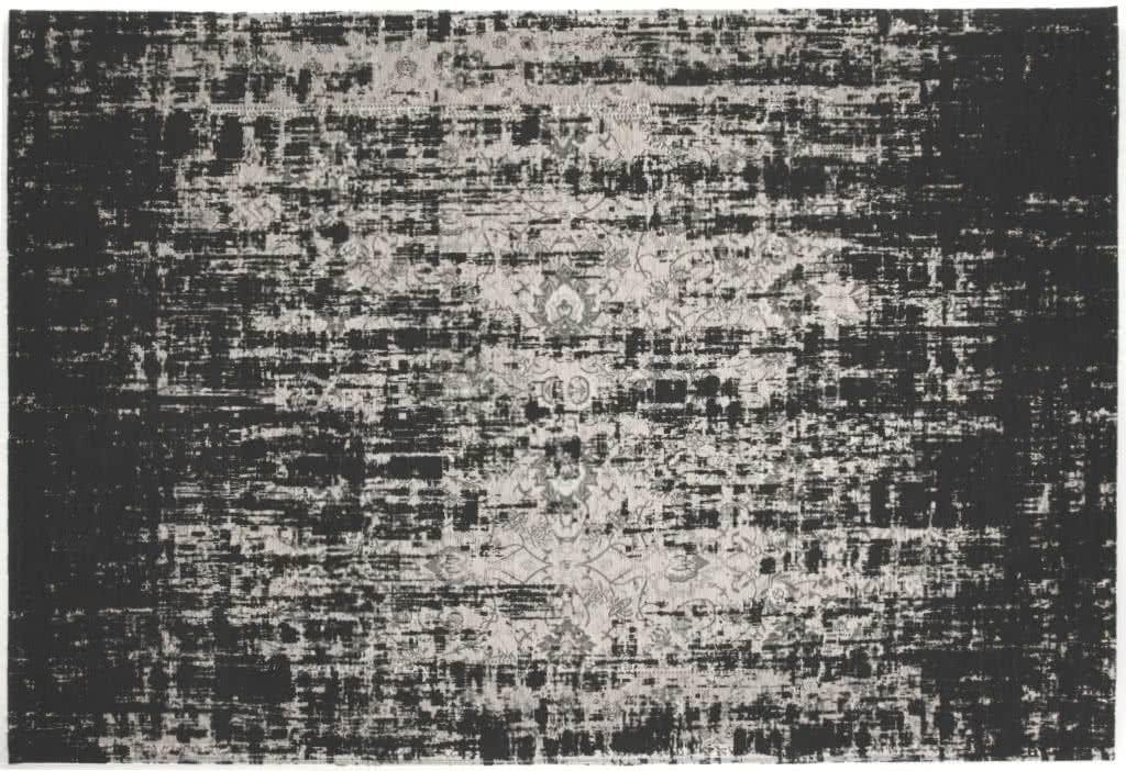 Webteppich struktur schwarz im vintage look grau
