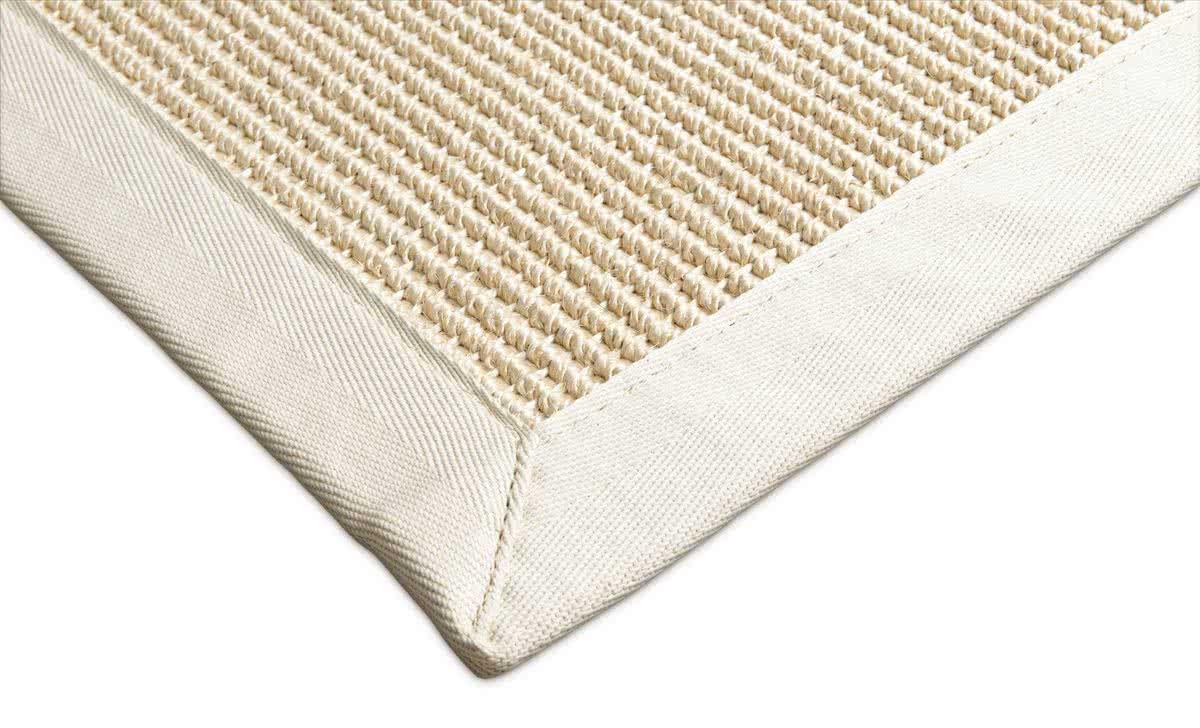 grober sisal teppich santa cremewei baumwollbord re. Black Bedroom Furniture Sets. Home Design Ideas