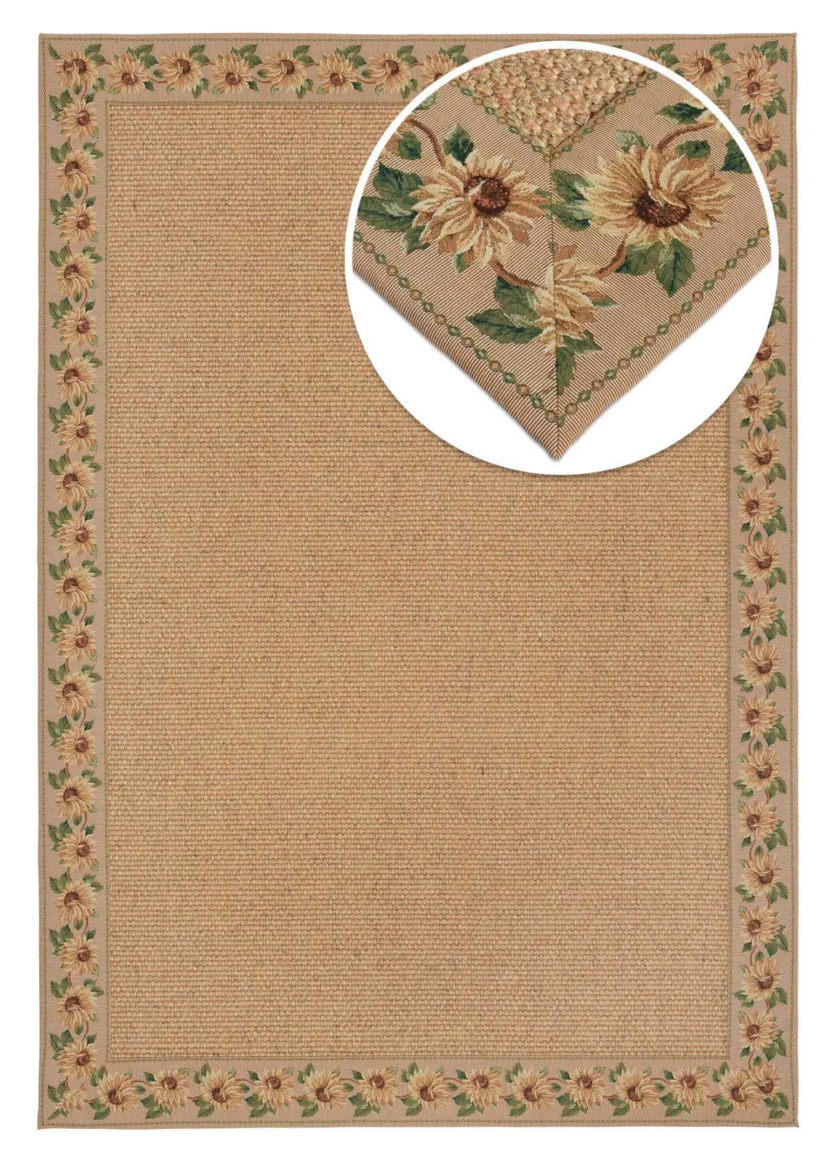 Sisal Teppich Manchu mit Sonnenblumen - Bordüre