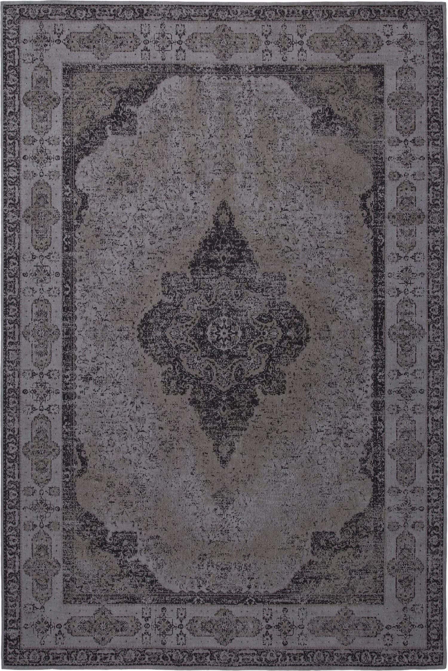Vintage Teppich Retro Grau Schwarz Flachgewebt