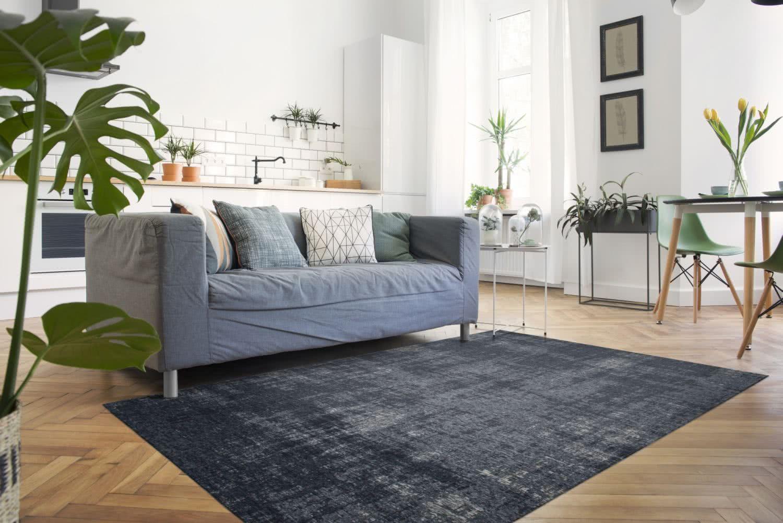 Vintage Teppich Struktur Dunkelgrau Blau Extra Flach